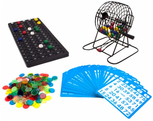 "Deluxe 6"" Bingo Game w/Colored Balls, 300 Chips and 50 Cards Perspective: front"