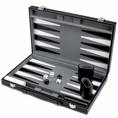 15in Backgammon Set with Stitched Black Leatherette Case Perspective: front