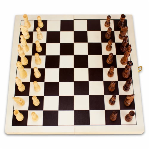 14in Natural Wooden Folding Chess Game with Staunton Pieces Perspective: front