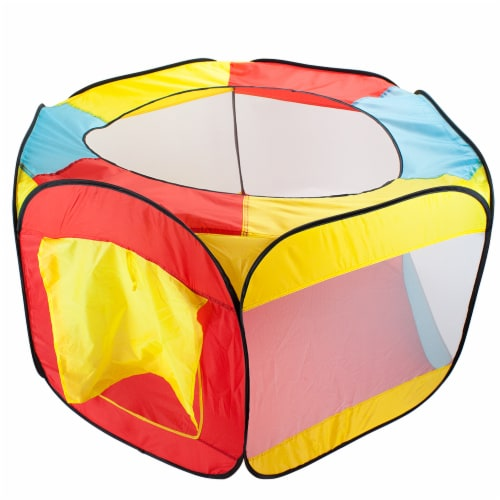 Hexagon Pop Up Ball Pit Tent with Mesh Netting and Case Perspective: front