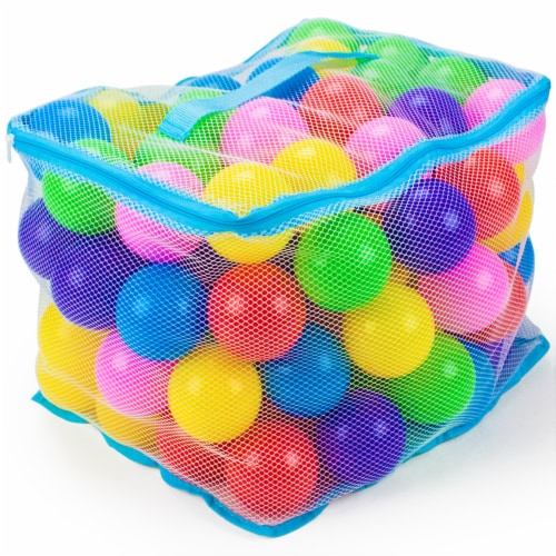 "100 Jumbo 3"" Multi-Colored Soft Ball Pit Balls w/Mesh Case Perspective: front"