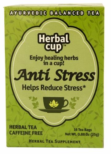 Herbal Cup Anti-Stress Ayurvedic Balanced Herbal Tea Bags Perspective: front