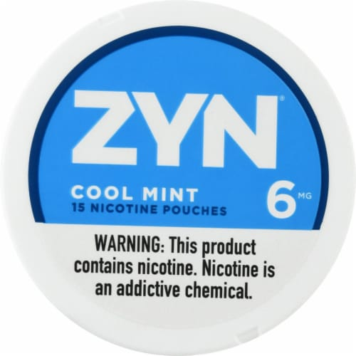 ZYN Cool Mint Nicotine Pouches 6mg Perspective: front