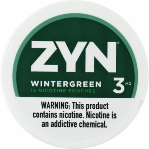 ZYN Wintergreen 3mg Nicotine Pouches Perspective: front