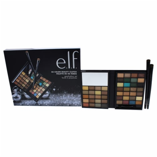 e.l.f. 48 Color Beauty Clutch Eyeshadow Set Little Black Beauty Book in Warm Perspective: front