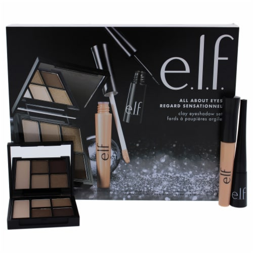 e.l.f. All About Eyes Set Clay Eyeshadow Palette, Expert Liquid Liner, Eyelid Primer 3 Pc Perspective: front