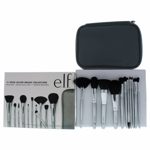 e.l.f. Silver Brush Collection Eyeshadow C Brush, Eyebrow Duo Brush, Blending Brush, Small An Perspective: front