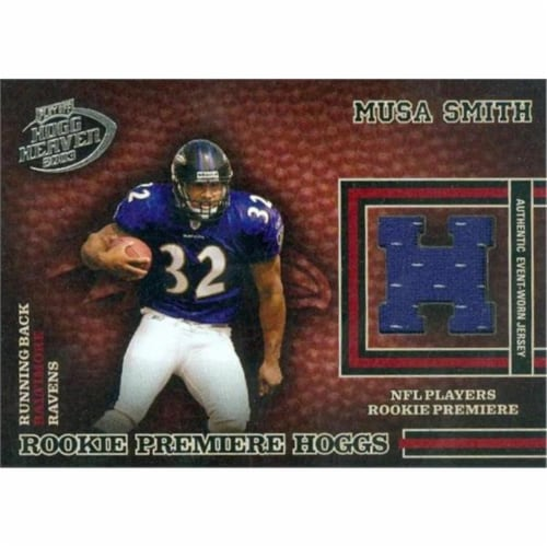 Autograph Warehouse 466266 Musa Smith Player Worn Jersey Patch Football Card, 2003 Playoff Ho Perspective: front