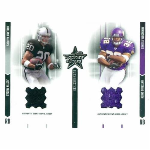 Autograph Warehouse 466528 Justin Fargas & Onterrio Smith Player Worn Jersey Patch Football C Perspective: front