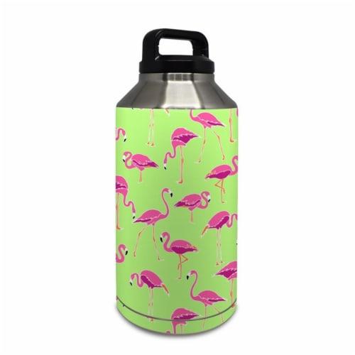 DecalGirl Y64-FLAMINGODAY Yeti Rambler 64 oz Bottle Skin - Flamingo Day Perspective: front