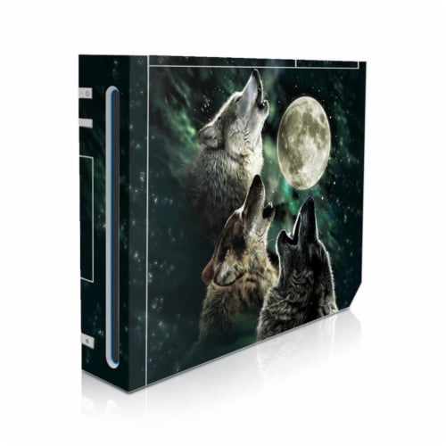 DecalGirl WII-TWOLVES Nintendo Wii Skin - Three Wolf Moon Perspective: front