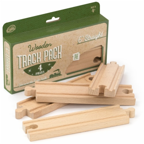 6' Straight Wooden Train Tracks, 4-pack Perspective: front