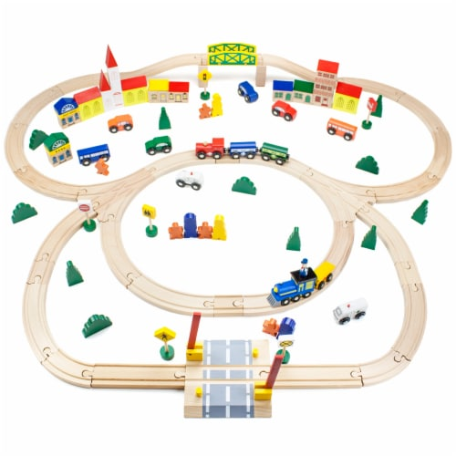 Conductor Carl 100 Piece Wooden Train Set Perspective: front