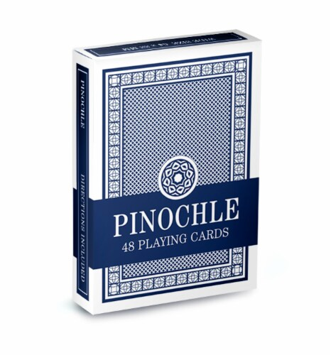 Single Blue Deck Pinochle Playing Cards Perspective: front