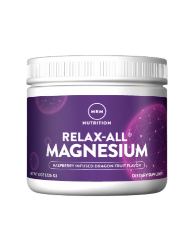 MRM Nutrition Relax-All Raspberry-Dragon Fruit Magnesium Powder Perspective: front
