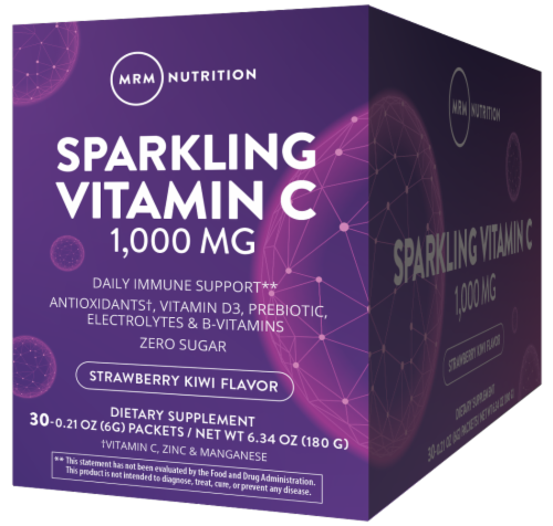 MRM Sparkling Vitamin C Strawberry Kiwi Flavor Dietary Supplement Packets 1000mg Perspective: front