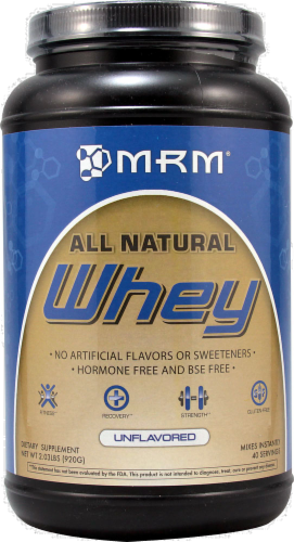 MRM All Natural Unflavored Whey Protein Powder Perspective: front