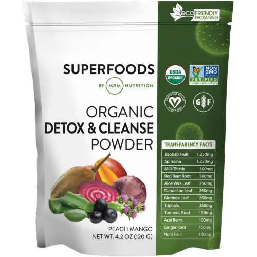 MRM Superfoods Organic Peach Mango Detox & Cleanse Powder Perspective: front
