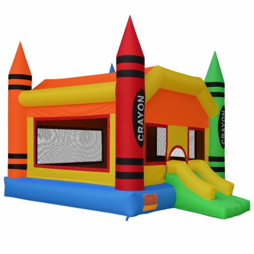 The Crayon Bounce House with Slide by Cloud 9 Perspective: front