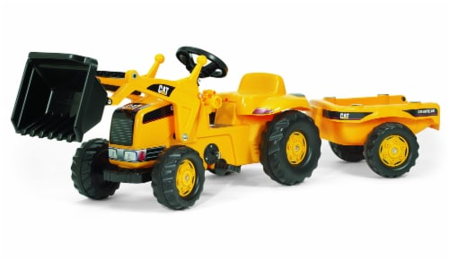 KETTLER Caterpillar Kid Tractor with Front Loader and Trailer - Yellow/Black Perspective: front
