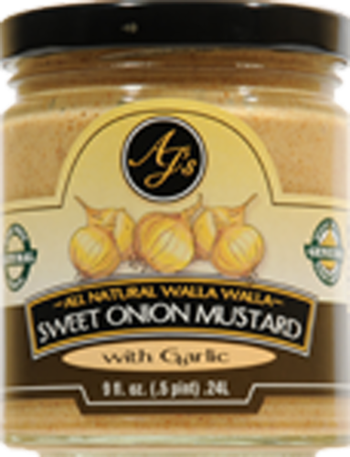 Aj's Natural Sweet Onion Mustard with Garlic Perspective: front