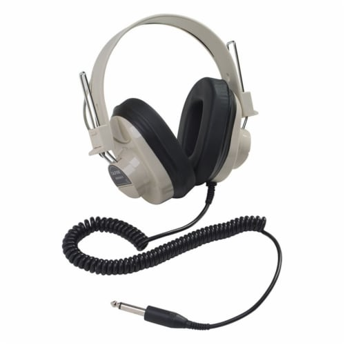 Deluxe Mono Headphone, Fixed Coiled Cord Perspective: front
