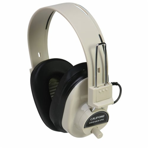 Deluxe Mono Headphone with Volume Control, Fixed Coiled Cord Perspective: front