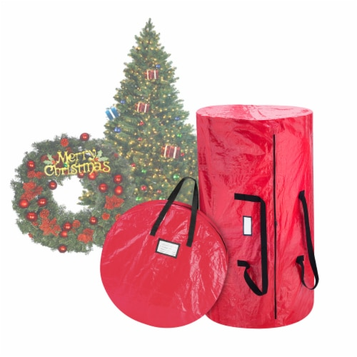 Christmas Tree and Wreath Storage Bag Organizers Zipper with Handles Red Perspective: front