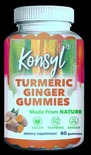 Konsyl Turmeric Ginger Gummies Perspective: front