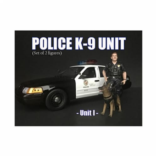 American Diorama 38163 Police Officer Figure with K9 Dog Unit I for 1 isto 18 Diecast Model C Perspective: front