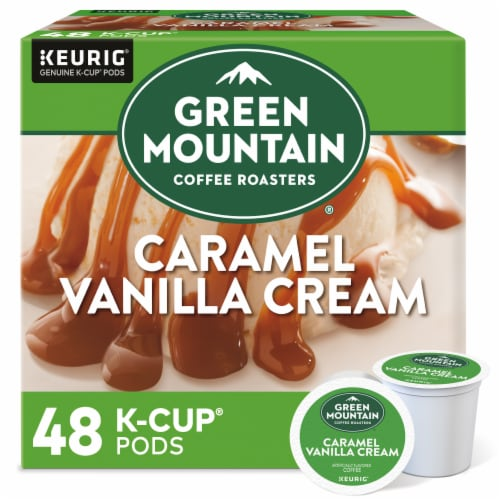 Green Mountain Coffee Caramel Vanilla Cream K-Cup Pods Perspective: front