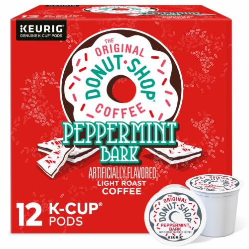 The Original Donut Shop Coffee Peppermint Bark Light Roast Coffee K-Cups Pods Perspective: front