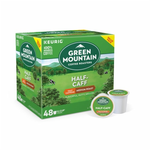 Green Mountain Coffee Half-Caff Medium Roast Coffee K-Cup Pods Value Pack Perspective: front