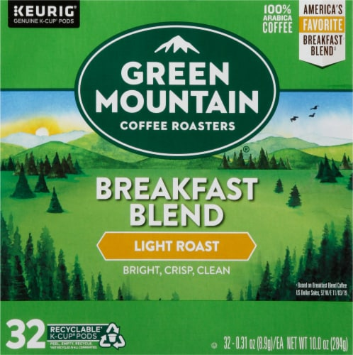 Green Mountain Coffee Breakfast Blend Light Roast K-Cup Pods Perspective: front