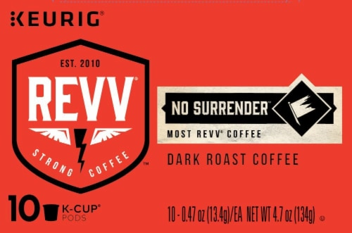 Keurig Revv No Surrender Dark Roast Coffee K-Cup Pods Perspective: front
