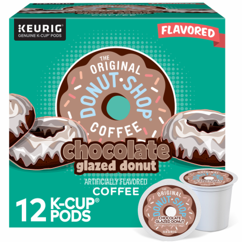 The Original Donut Shop Chocolate Glazed Donut Medium Roast Coffee K- Cup Pods Perspective: front