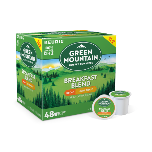 Green Mountain Breakfast Blend Decaf Light Roast Coffee K-Cup Pods Perspective: front
