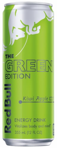 Red Bull The Green Edition Kiwi Apple Energy Drink Perspective: front
