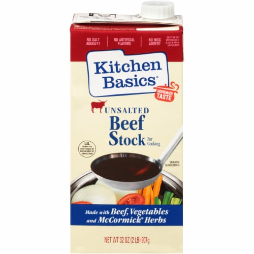 Kitchen Basics Unsalted Beef Stock Perspective: front