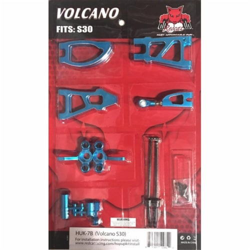 Redcat Racing HUK-7B Aluminum Hop Up Upgrade Kit for RC Volcano S30 SV Truck, Blue Perspective: front