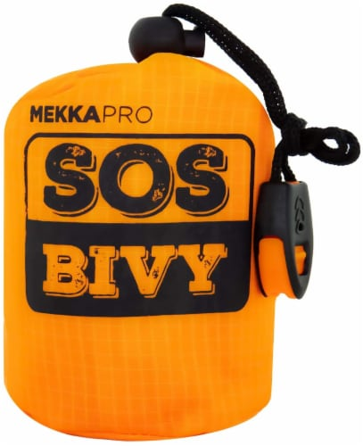 MEKKAPRO SOS Emergency Thermal Bivy Sleeping Bag with Survival Whistle, Survival Bivvy Sack Perspective: front