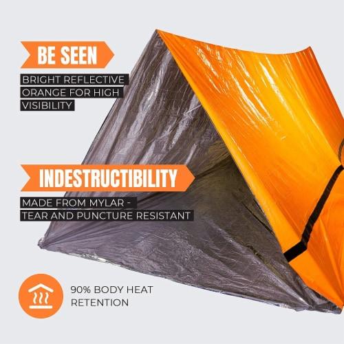MEKKAPRO Emergency Survival Tent Shelter – 2 Person Tent – Survival Emergency Shelter, Perspective: front