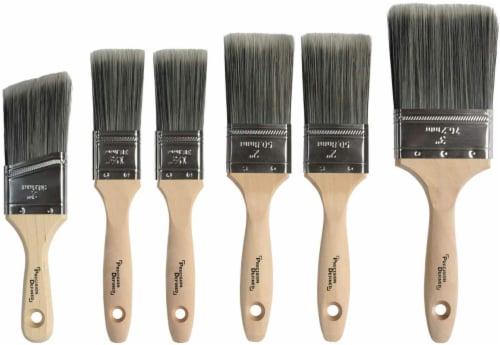 BOZ Heavy-Duty Professional 6-pc Paintbrush Set with SRT PET Bristles,Natural Birch Handles Perspective: front