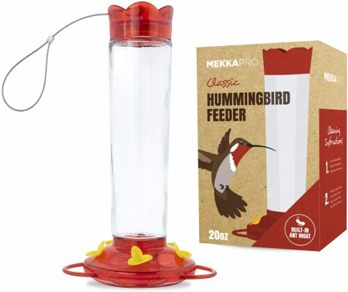 MEKKAPRO Outdoor Hummingbird Feeder Made from Glass, 5 Nectar Feeding Stations (20 Ounce) Perspective: front