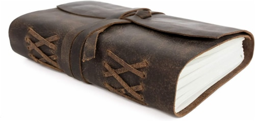 """Genuine Leather Journal Notebook, Unlined 120 Pages, Handmade Leather Bound (7"""" x 5"""") Perspective: front"""