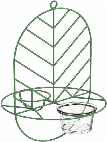 MEKKAPRO Leaf Oriole Bird Feeder, Dual Jelly Orange Feed, Fits Clementine Nectar (Leaf Green) Perspective: front