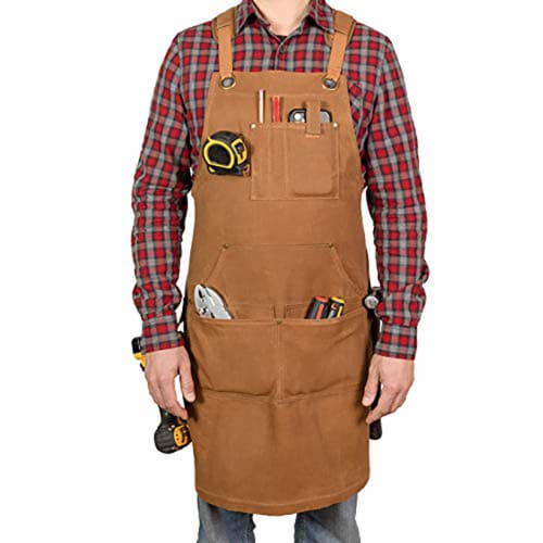 PD Canvas Woodworking Tool Apron with Shoulder Pads, Brown, Cross-Back 9 Tool Pockets Perspective: front