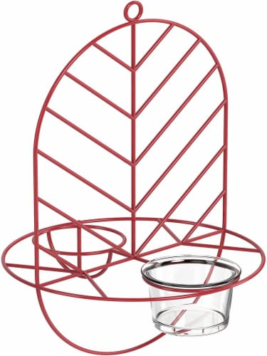 MEKKAPRO Leaf Oriole Bird Feeder, Dual Jelly Orange Feed, Fits Clementine Nectar (Coral Red) Perspective: front