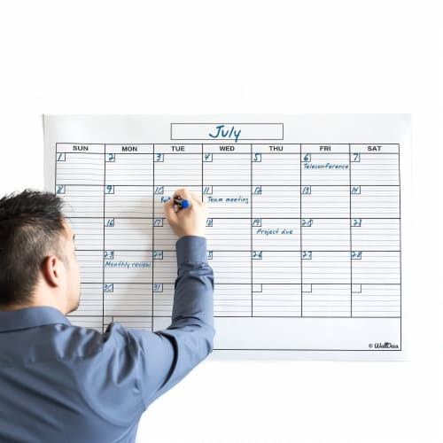 WallDeca Monthly Dry Erase Wall Calendar Planner Whiteboard: Wipe Off Erasable Calendar Perspective: front