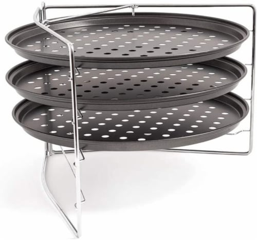 Chef Pomodoro Pizza Baking Set with 3 Pizza Pans and Pizza Tray, Non-Stick, for Oven Perspective: front